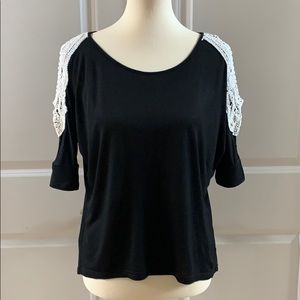 Black Cold Shoulder Top with Crochet Detail